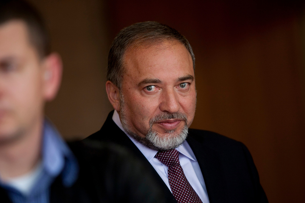 Israel's Foreign Minister Avigdor Lieberman is seen at the entrance to his office at the Ministry of Foreign Affairs in Jerusalem, on May 1, 2012.