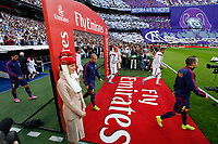 Real Madrid´s Pepe and Sergio Ramos and Barcelona´s Mascherano and Andres Iniesta before La Liga match between Real Madrid and F.C. Barcelona in Santiago Bernabeu stadium in Madrid, Spain. October 25, 2014. (ALTERPHOTOS/Victor Blanco)
