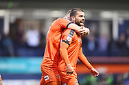 Luton Town player Elliot Lee celebrates his opening goalie the first half during the EFL Sky Bet League 1 match between Luton Town and AFC Wimbledon at Kenilworth Road, Luton, England on 23 April 2019.
