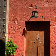 """Graceful entrance to Monasterio Santa Catalina in the """"White City"""" of Arequipa, Peru."""
