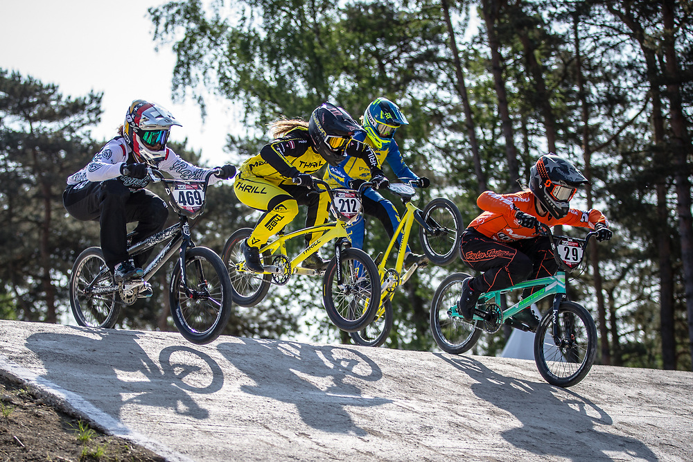 #469 (HERNANDEZ Stefany) VEN, #212 (PETERSONE Vineta) LAT and #29 (HUISMAN Ruby) NED during practice at Round 5 of the 2018 UCI BMX Superscross World Cup in Zolder, Belgium