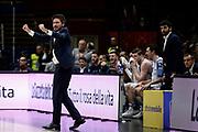 Pozzecco Marco<br /> A X Armani Exchange Olimpia Milano - Banco di Sardegna Sassari<br /> Campionato Legabasket 2018/2019 - LBA<br /> Milano 07/04/19<br /> Ciamillo - Castoria // Foto Vincenzo Delnegro
