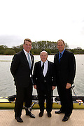 Caversham, Reading, Berks, ENGLAND, ..Official opening Redgrave Pinsent Rowing Lake and Sheriff Boathouse, By, Sirs' Matt Pinsent [left] and Steven Redgrave, Centre david Sherriff, 29.04.2006 © Peter Spurrier / Intersport images...'New 13 millon pounds British International Rowing Trianing facility at Caversham Lake' .
