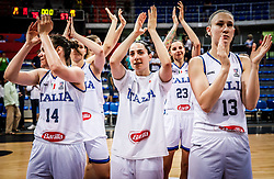 Martina Crippa of Italy, Caterina Dotto of Italy, Sabrina Cinili of Italy, Valeria de Pretto of Italy  celebrate after winning during basketball match between Women National teams of Italy and Slovenia in Group phase of Women's Eurobasket 2019, on June 30, 2019 in Sports Center Cair, Nis, Serbia. Photo by Vid Ponikvar / Sportida