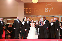 Dean DeBlois, Kit Harrington, Jay Baruchel, America Ferrera, Bonnie Arnold, Cate Blanchett, Djimon Hounsou, Jeffrey Katzenberg and Gilles Jacob on the red steps at the the How to Train Your Dragon 2 gala screening red carpet at the 67th Cannes Film Festival France. Friday 16th May 2014 in Cannes Film Festival, France.
