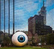Sculpture of eyeball in downtown Dallas, Texas. Artist: Tony Tasset