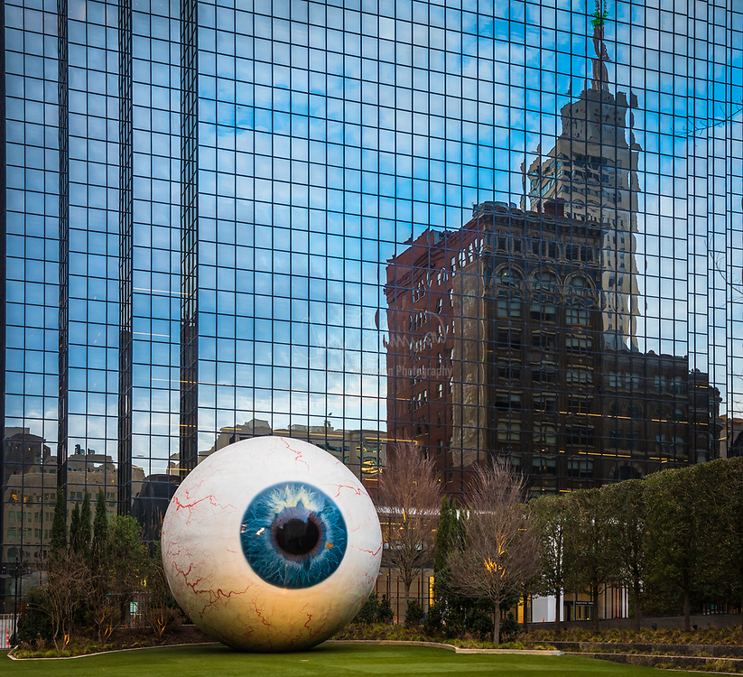 Sculpture of eyeball in downtown Dallas, Texas. Artist: Tony Tasset