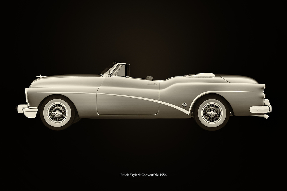 Buick is an old American car brand that was very popular in the 50's because of this model, the Buick Skylark convertible. Many Americans have strolled the streets on their way to a cinema or restaurant or just to enjoy their Buick Skylark. –<br /> <br /> BUY THIS PRINT AT<br /> <br /> FINE ART AMERICA<br /> ENGLISH<br /> https://janke.pixels.com/featured/buick-skylark-convertible-1956-black-and-white-jan-keteleer.html<br /> <br /> WADM / OH MY PRINTS<br /> DUTCH / FRENCH / GERMAN<br /> https://www.werkaandemuur.nl/nl/shopwerk/Buick-Skylark-Cabriolet-1956/742745/132?mediumId=11&size=75x50<br /> <br /> -