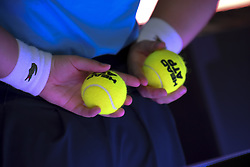 November 18, 2017 - London, England, United Kingdom - A detail balls during Roger Federer of Switzerland against David Goffin of Belgium in their semi-final match on day seven of the ATP World Tour Finals tennis tournament at the O2 Arena in London on November 18, 2017. (Credit Image: © Alberto Pezzali/NurPhoto via ZUMA Press)