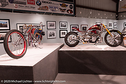 Glory Stomper, Roland Sands custom Harley-Davidson Softail he built in 2005 for the Discovery Channel biker build-off, on display in the Heavy Mettle - Motorcycles and Art with Moxie exhibition at the Sturgis Buffalo Chip. This is the 2020 iteration of the annual Motorcycles as Art series curated and produced by Michael Lichter. Sturgis, SD, USA. Friday, August 7, 2020. Photography ©2020 Michael Lichter.