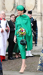 The Duchess of Sussex leaving after the Commonwealth Service at Westminster Abbey, London on Commonwealth Day. The service is the Duke and Duchess of Sussex's final official engagement before they quit royal life.