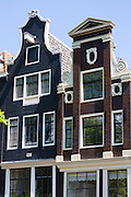Canalside ornate gabled houses - Dutch gables - on Brouwersgracht in Amsterdam, Holland