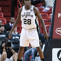 16 March 2010: San Antonio Spurs center Ian Mahinmi is seen on defense during the San Antonio Spurs 88-76 victory over the Miami Heat at the AmericanAirlines  Arena, in Miami, Florida, USA.