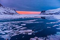 Sunset, Austvagoya Island, Lofoten Islands, Arctic, Northern Norway.