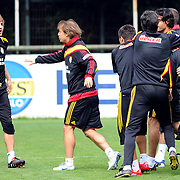 Galatasaray's players Caner ERKIN (L) and Ayhan AKMAN (C) during their training session at the Jupp Derwall training center, Tuesday, April 20, 2010. Photo by TURKPIX