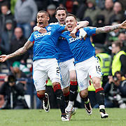 Celtic v Rangers. William Hill Scottish Cup Semi-Final. Hampden Park, Glasgow UK. Barrie McKay (R) reacts after scoring Rangers, with James Tavernier (L) and Nicky Clark (C). 17/04/16