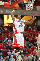 18 November 2007: Anthony Slack with a tomahawk dunk. Illinois State Redbirds defeated the Seahawks of the University of North Carolina - Wilmington 89-73 on Doug Collins Court in Redbird Arena on the campus of Illinois State University in Normal Illinois.