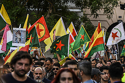 """Kurds living in Greece chant slogans during a protest near the Turkish embassy in Athens, on October 12, 2019. Turkey launched an assault on Kurdish forces in northern Syria with air strikes and explosions reported along the border. President Recep Tayyip Erdogan announced the start of the attack on Twitter, labelling it """"Operation Peace Spring"""".<br /> <br /> Pictured: <br /> Dimitris Lampropoulos  