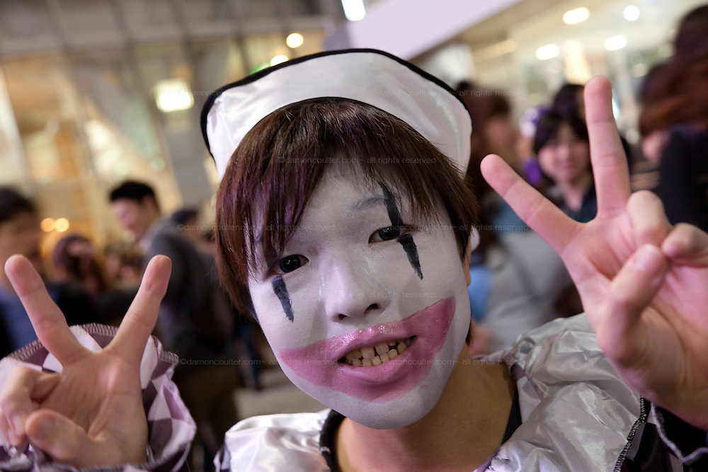 A young man dressed in a nurse's costume to celebrate Halloween in Shibuya, Tokyo, Japan. Thursday, October 31st 2013