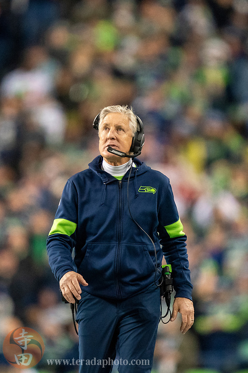 December 29, 2019; Seattle, Washington, USA; Seattle Seahawks head coach Pete Carroll during the second quarter against the San Francisco 49ers at CenturyLink Field.
