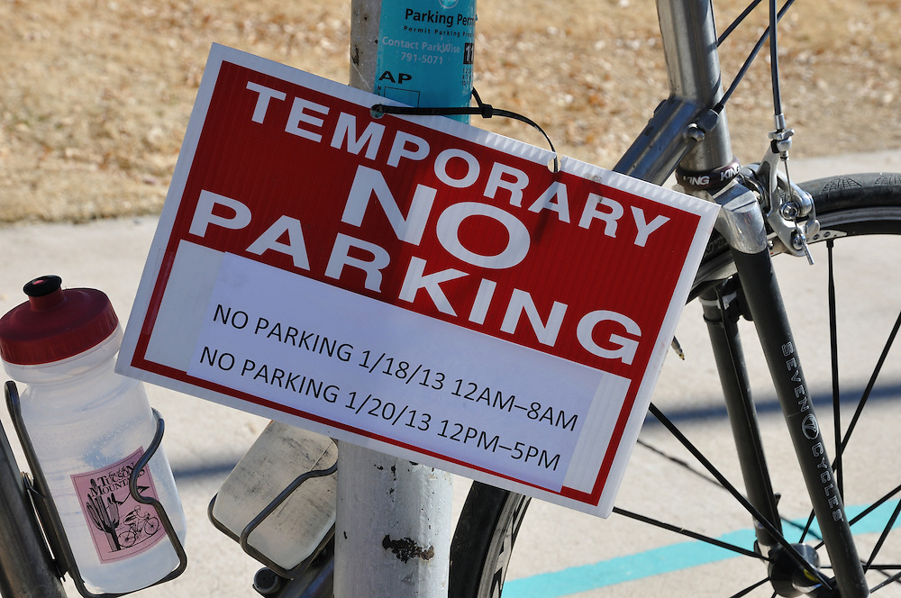 Temporary No Parking sign at the start of Ride On, Tucson, 2013. Bike-tography by Martha Retallick.