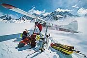 Landing on Lower Kahiltna glacier under Little Switzerland, ski expedition to traverse Denali, Mt McKinley, Alaska