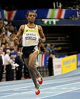 Photo: Richard Lane/Richard Lane Photography. <br />Norwich Union Grand Prix. 16/02/2008. Kenya's Kenenisa Bekele crosses the line to break the record in the men's two mile.