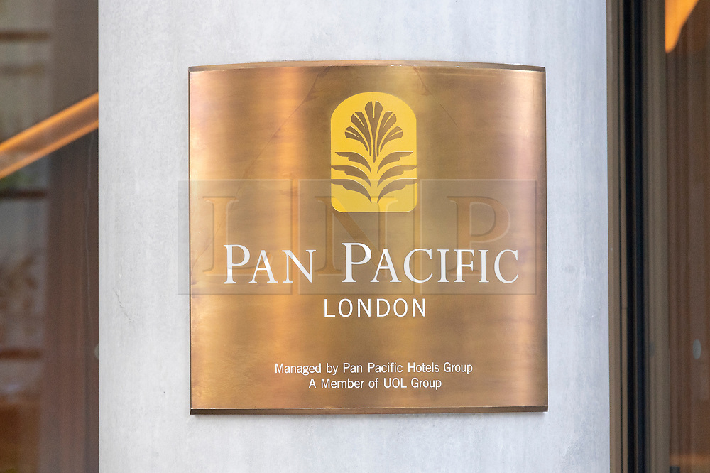 © Licensed to London News Pictures. 02/09/2021. London, UK. Hotel plaque sign of the new luxury PAN PACIFIC HOTEL in the heart of the City of London. Part of the  Singapore PAN PACIFIC Hotels group, this is their first European hotel. The hotel is based at One Bishopsgate Plaza and features 237 guest rooms including 42 suites and a signature Pan Pacific Suite; Five bars and restaurants including an all-day dining Straits Kitchen restaurant; A dedicated well being floor with an 18.5 metre infinity pool and a destination  cocktail bar in Devonshire House designed by Tom Dixon. Photo credit: Ray Tang/LNP