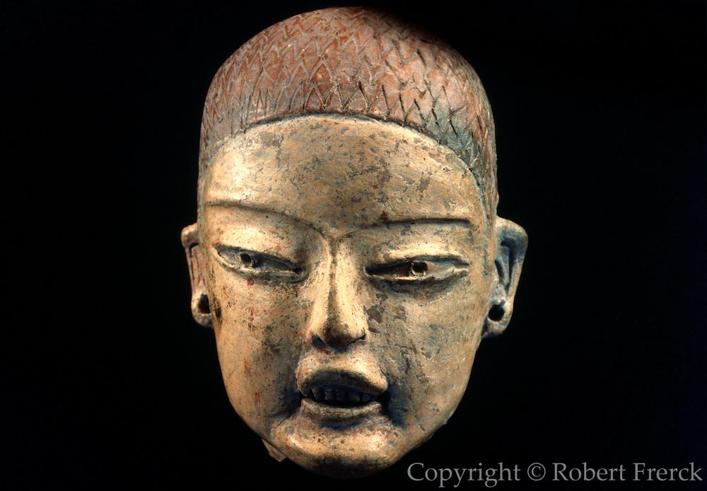 MEXICO, MEXICO CITY MUSEUM Olmec; ceramic head with teeth