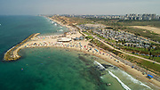 Aerial Photography of the Coastline of Herzliya, in Central Israel