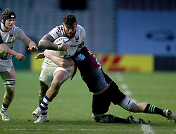 Nathan Hughes of Bristol Bears is tackled by Glen Young of Harlequins - Mandatory by-line: Matt Impey/JMP - 26/12/2020 - RUGBY - Twickenham Stoop - London, England - Harlequins v Bristol Bears - Gallagher Premiership Rugby