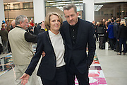 ANNABELLE SELLDORF; NICK HARTEditor of Wallpaper: Tony Chambers and architect Annabelle Selldorf host drinks to celebrate the collaboration between the architect and three of Savile Row's finest: Hardy Amies, Spencer hart and Richard James. Hauser and Wirth Gallery. ( Current show Isa Genzken. ) savile Row. London. 9 January 2012.