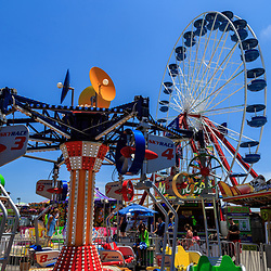 Ocean City, MD, USA - May 26, 2018: Several of the amusement rides are popular attractions in the summer on the Ocean City boardwalk.