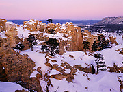Ponderosa pines and snow-coverd Inscription Rock at dusk, El Morro National Monument, New Mexico.