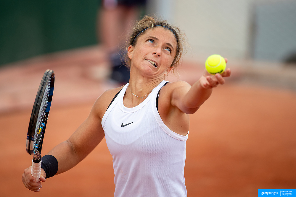 PARIS, FRANCE May 24.  Sara Errani of Italy in action against Sachia Vickery of the United States on the first day of the qualifying tournament at the 2021 French Open Tennis Tournament at Roland Garros on May 24th 2021 in Paris, France. (Photo by Tim Clayton/Corbis via Getty Images)