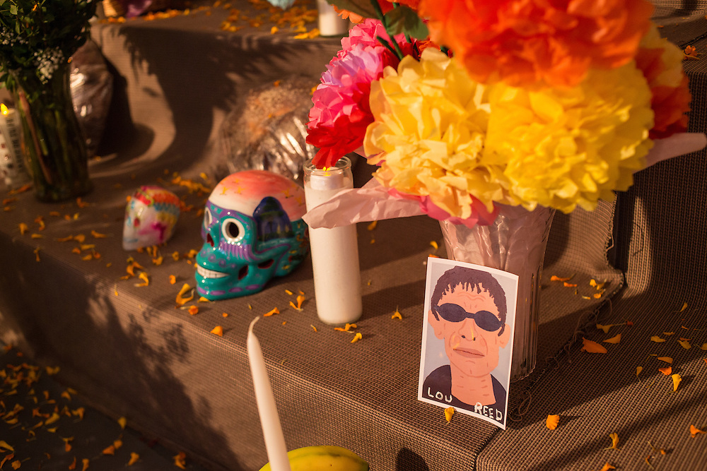 New York, NY, October 31, 2013. One of the ofrendas, or offerings, on the public altar commemorates Lou Reed.