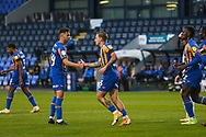 GOAL 3-0. Jason Cummings of Shrewsbury Town scores and celebrates the third goal of the game during the EFL Trophy match between Shrewsbury Town and U21 Newcastle United at Greenhous Meadow, Shrewsbury, England on 22 September 2020.