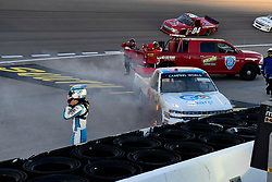 September 14, 2018 - Las Vegas, NV, U.S. - LAS VEGAS, NV - SEPTEMBER 14: The car of Tanner Thorson (20) Chevrolet Silverado stops on fire during the World of Westgate 200 NASCAR Camping World Truck Series Playoff Race on September 14, 2018, at Las Vegas Motor Speedway in Las Vegas, NV. (Photo by David Allio/Icon Sportswire) (Credit Image: © David Allio/Icon SMI via ZUMA Press)