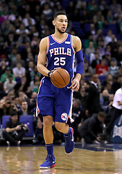 Philadelphia 76ers' Ben Simmons during the NBA London Game 2018 at the O2 Arena, London. PRESS ASSOCIATION Photo. Picture date: Thursday January 11, 2018. See PA story BASKETBALL London. Photo credit should read: Simon Cooper/PA Wire. RESTRICTIONS: Editorial use only, No commercial use without prior permission