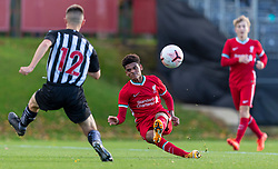 KIRKBY, ENGLAND - Saturday, October 31, 2020: Liverpool's Melkamu Frauendorf shoots during the Under-18 Premier League match between Liverpool FC Under-18's and Newcastle United FC Under-18's at the Liverpool Academy. Liverpool won 4-1. (Pic by David Rawcliffe/Propaganda)