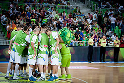 Team Slovenia during last friendly match before Eurobasket 2013 between National teams of Slovenia and France on August 31, 2013 in SRC Stozice, Ljubljana, Slovenia. (Photo by Urban Urbanc / Sportida.com)