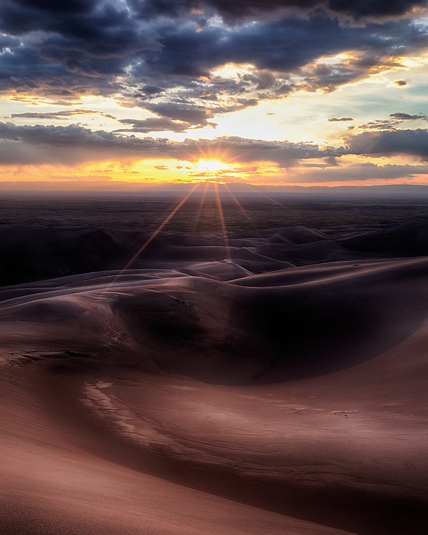 Dramatic light play on Colorado's Great Sand Dunes