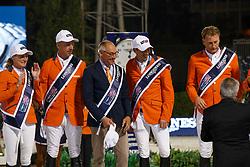 Team Netherlands, Poels Aniek, Vrieling Jur, Ehrens Rob, Smolders Harrie, Houtzager Marc, Hendrix Michel, NED<br /> CSIO Barcelona 2017<br /> © Hippo Foto - Dirk Caremans<br /> 01/10/2017