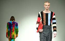 Models on the catwalk during the Alex Mullins London Fashion Week Men's AW18 show held at BFC Show Space, London.