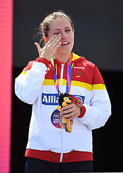 Spain's Sara Andres Barrio after winning bronze in the 400m T44 during day four of the 2017 World Para Athletics Championships at London Stadium. PRESS ASSOCIATION Photo. Picture date: Monday July 17, 2017. See PA story ATHLETICS Para. Photo credit should read: Victoria Jones/PA Wire. RESTRICTIONS: Editorial use only. No transmission of sound or moving images and no video simulation.