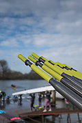 """Hammersmith. London. United Kingdom,  Hammersmith. London.  General View, """"Oar Handles"""", Furnivall SC, 2018 Men's Head of the River Race.  Championship Course, River Thames, 2018 Men's Head of the River Race. , Championship Course, Putney to Mortlake. River Thames, <br /> <br /> Sunday   11/03/2018<br /> <br /> [Mandatory Credit:Peter SPURRIER Intersport Images]<br /> <br /> LEICA CAMERA AG  LEICA Q (Typ 116)  1/16000 sec. 28 mm f.1.7 200 ISO.  41.9MB"""