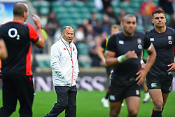 November 11, 2017 - London, England, United Kingdom - England's Coach Eddie Jones watches closely as England warm up during Old Mutual Wealth Series between England against Argentina at Twickenham stadium , London on 11 Nov 2017  (Credit Image: © Kieran Galvin/NurPhoto via ZUMA Press)