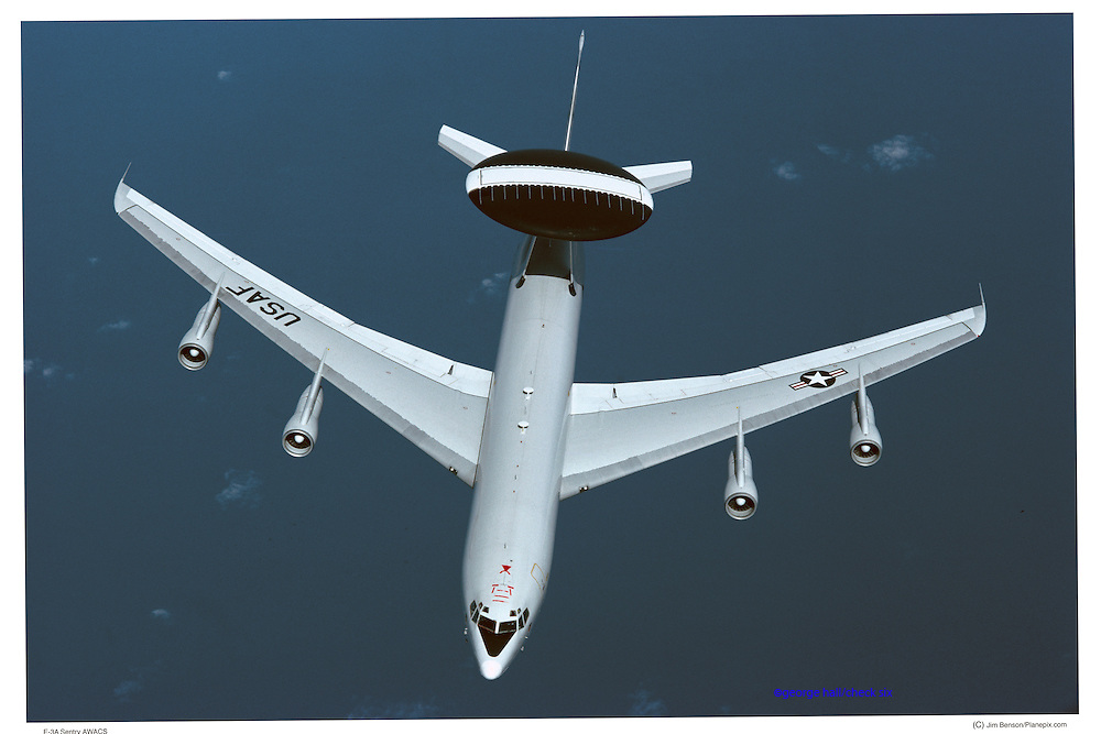 E-3A AWACS top view, aerial