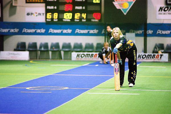 Australian Under 19 Girls' Rikki-Lee Rimmington watches from the non-striker's end, vs South Africa.<br /> 2003 Indoor Cricket World Under 19 Championships, Christchurch, New Zealand