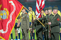 US Soldiers of the 2nd Regiment Marines and Romanian soldiers guard Michael the Brave during the ceremony of bringing the flags of Romania and the United States before rugby test match, on National Stadium Arc de Triomphe in Bucharest, November 8, 2014. This was the first time that the game between the USA and Romania had a special trophy - the Pershing Cup. The trophy is named after General John Pershing, who led the US Expeditionary Force during World War I. It was under the patronage of Pershing that the first USA v Romania rugby game was ever played, in Paris in 1919 in the Inter-Allied Games. That year Pershing was named General of the Armies of the United States - only he and George Washington (who received the promotion posthumously) have ever earned that rank.